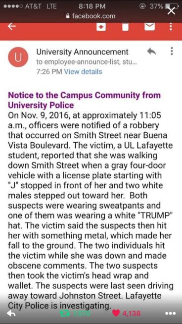 University of Louisiana at Lafayette attack
