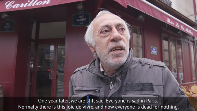 // HOLD FOR LYDIA // Parisians mark the attacks: 'Normally there is joie de vivre - life will never be the same'