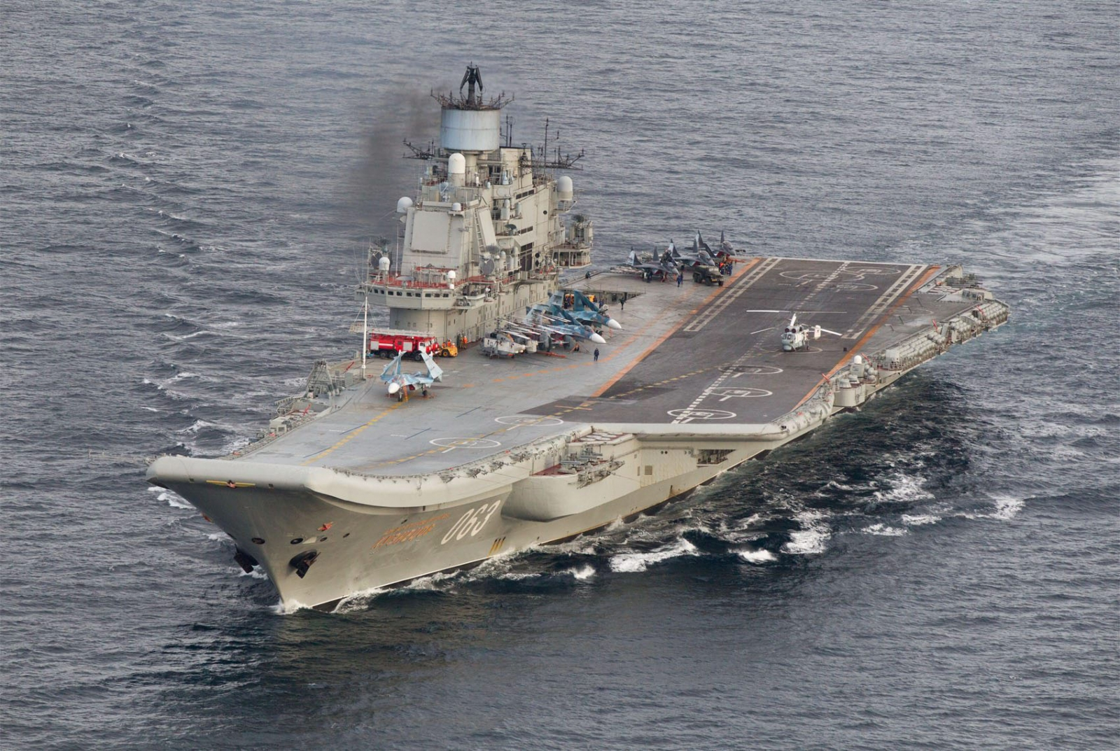 A photo taken from a Norwegian surveillance aircraft shows Russian aircraft carrier Admiral Kuznetsov