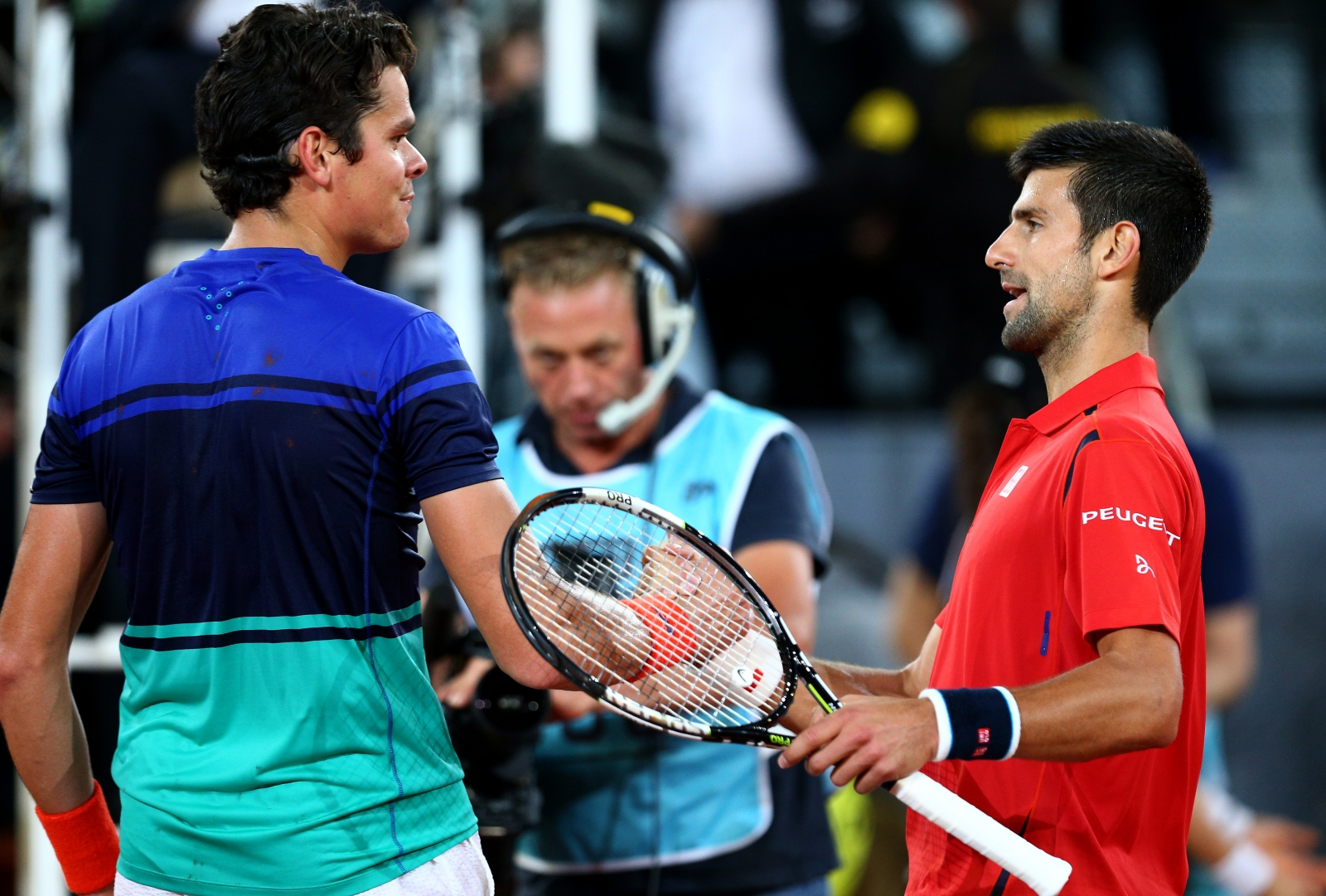 Milos Raonic and Novak Djokovic