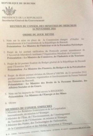 Agenda of the Council of Ministers