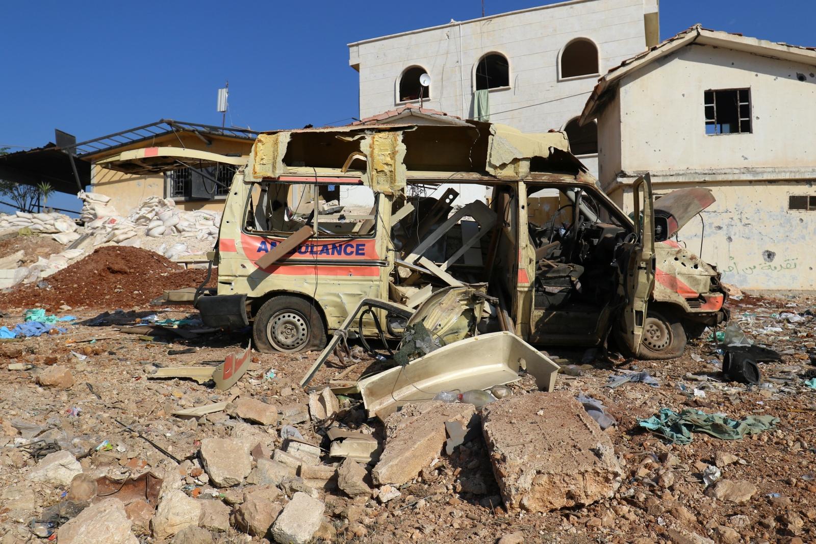 Syria damaged ambulance