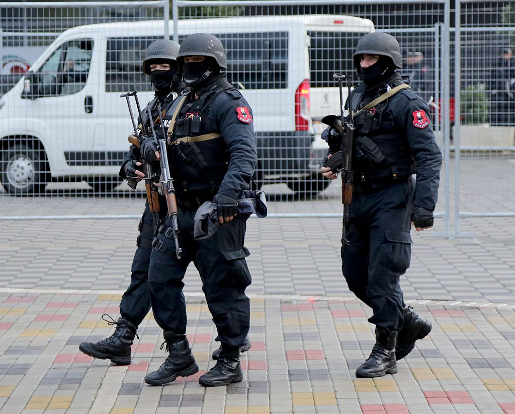 Albanian special policemen patrol at the Elbasan Arena stadium before the 2018 World Cup group G qualifying football match between Albania and Israel, in Elbasan on November 12, 2016.