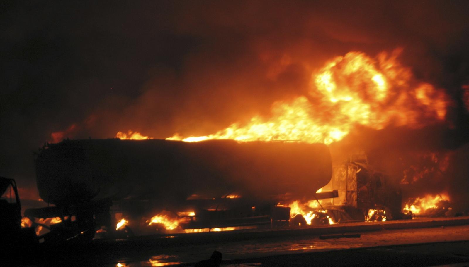 Burning fuel truck