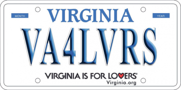 Sample Virginia license plate