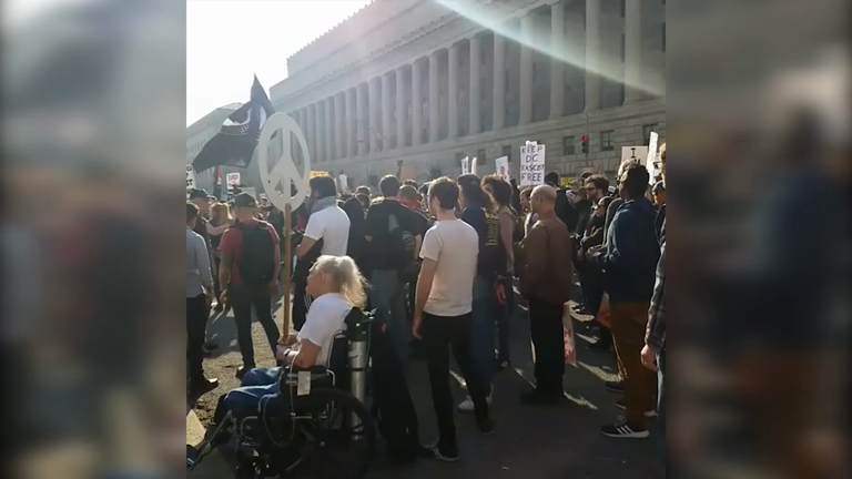 Washington: Anti-fascist protesters march against alt-right conference