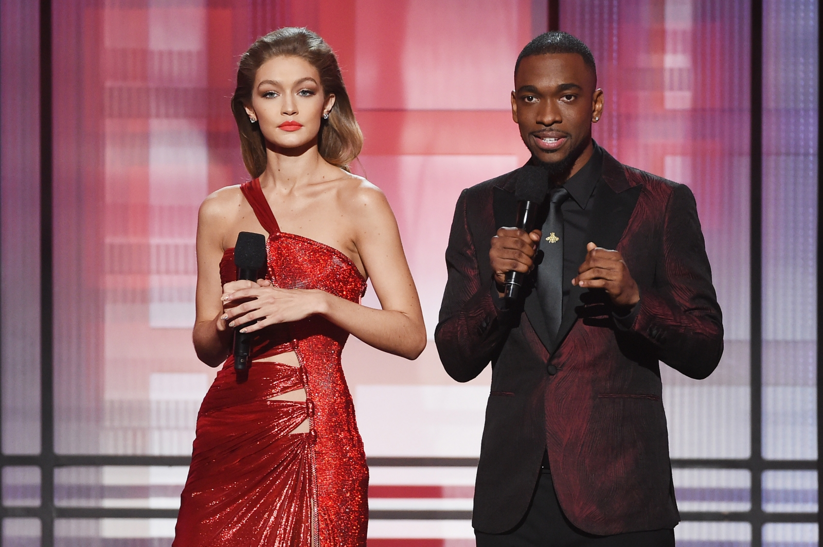 Gigi Hadid (L) and Jay Pharoah