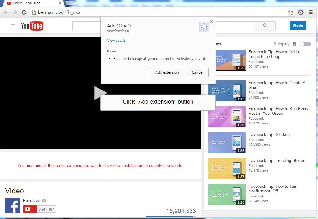 Fake YouTube website
