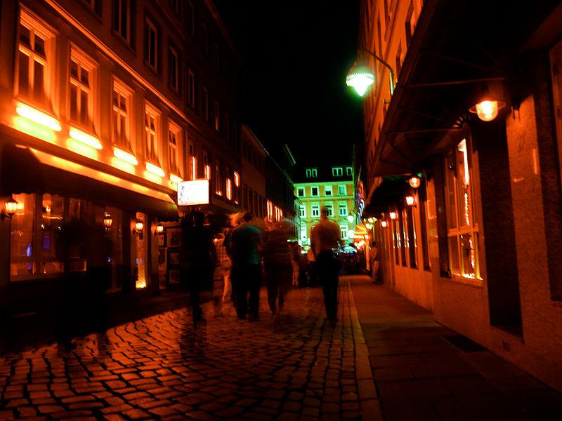 Night scene in Hamburg St. Pauli