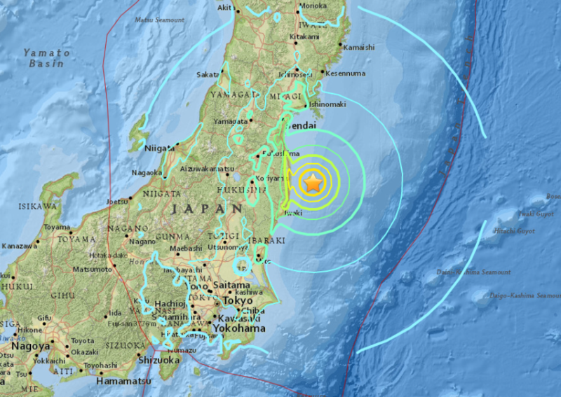 An earthquake has hit Japan near Fukushima with a 7.3 magnitude.