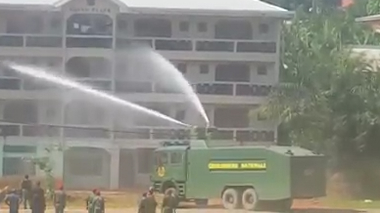 Cameroon students fired at by water cannon
