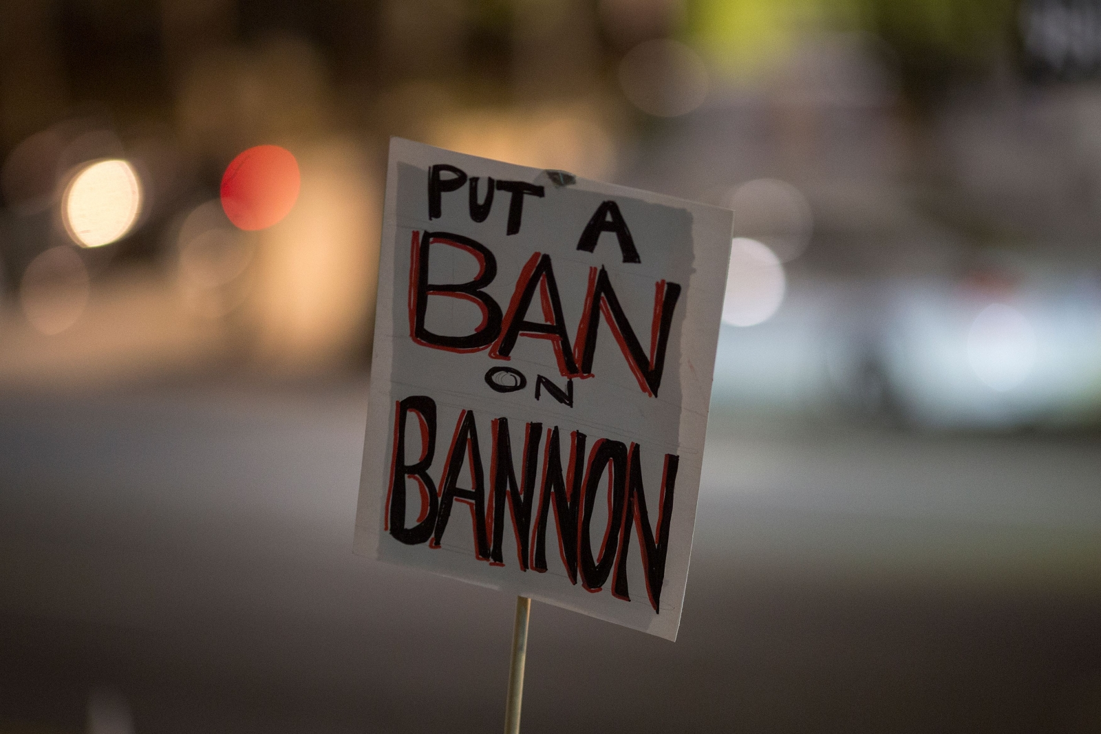 Sign against Steve Bannon's appointment