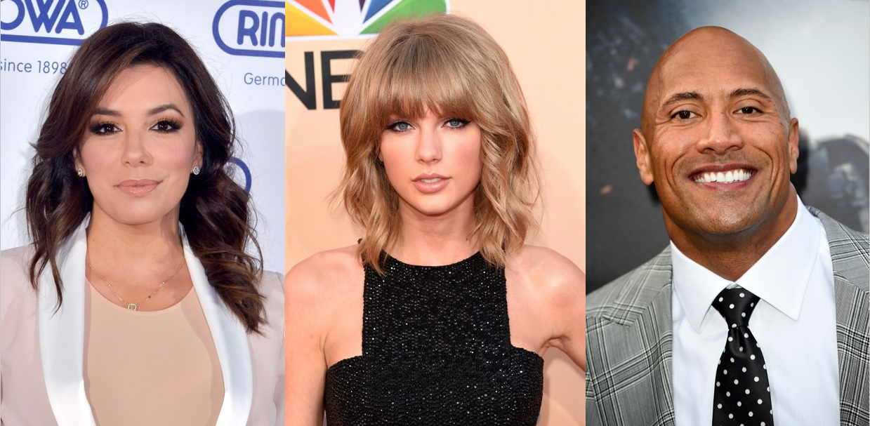 Eva Longoria, Taylor Swift and Dwayne Johnson