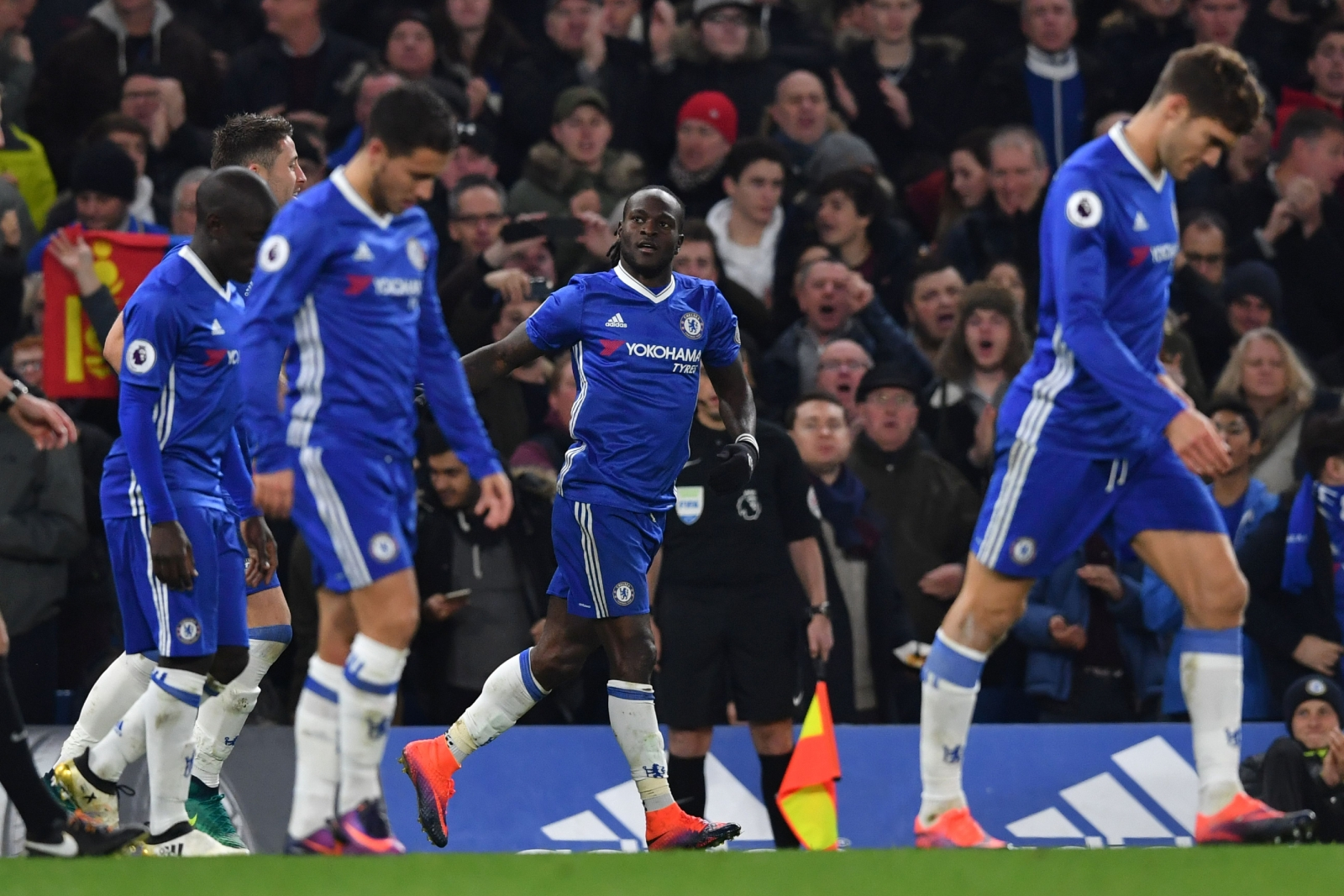 Victor Moses celebrates his goal