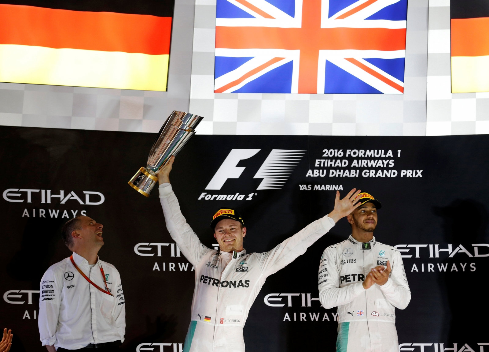 Mercedes' Formula One driver Nico Rosberg of Germany celebrates winning second place in the Abu Dhabi Grand Prix