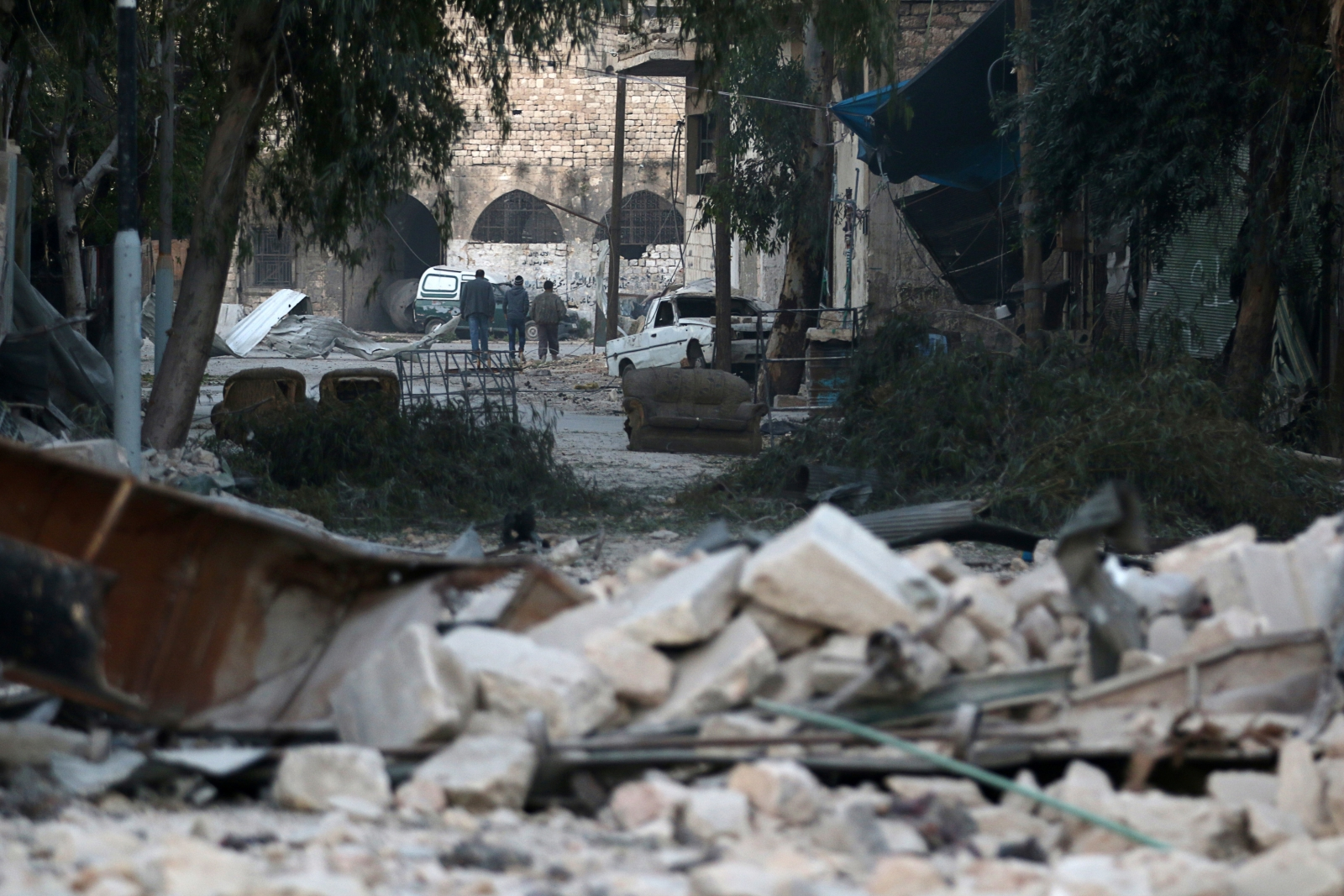 The rebel-held besieged area of Aleppo,