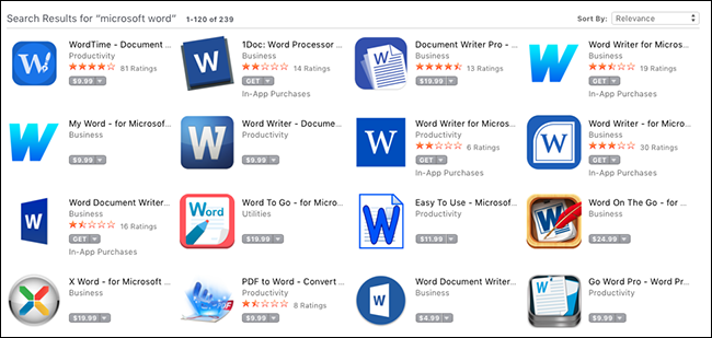 Fake Microsoft apps on Mac App Store