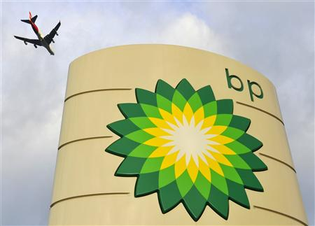 A logo is seen at a BP fuel station in London