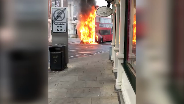 Driver injured as double decker bus catches fire in London