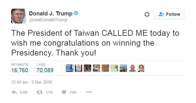 Trump receives phone call from Taiwan president