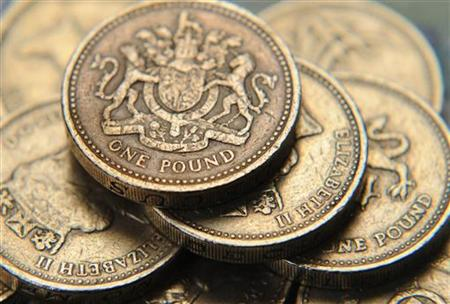 A pile of one pound coins is seen in central London