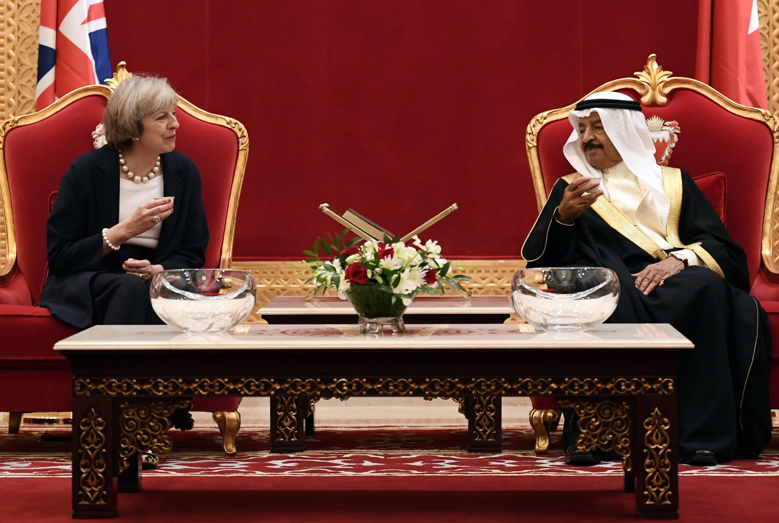Theresa May defends trade deals with Gulf leaders