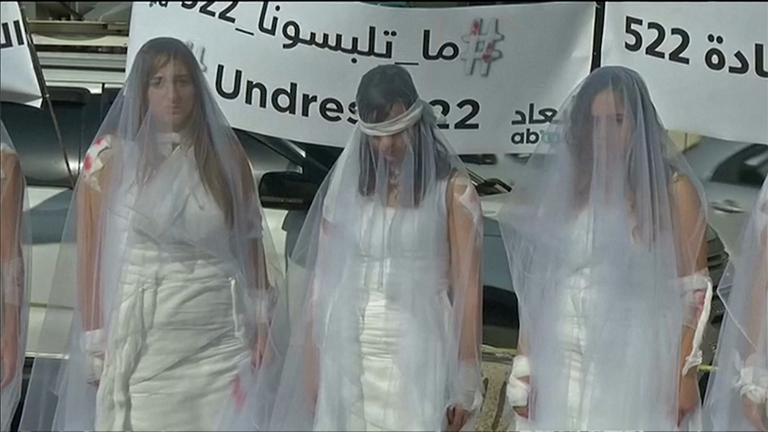 Bloodied brides protest Lebanese rape law