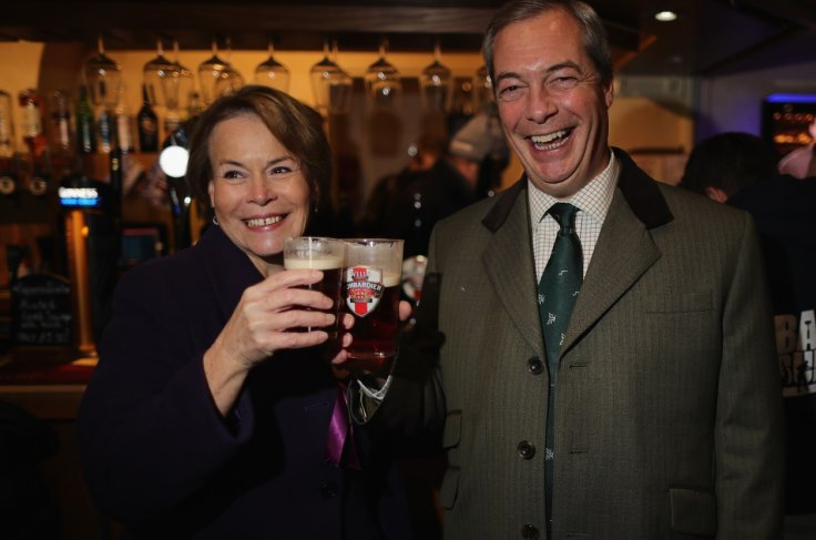 Victoria Ayling and Nigel Farage