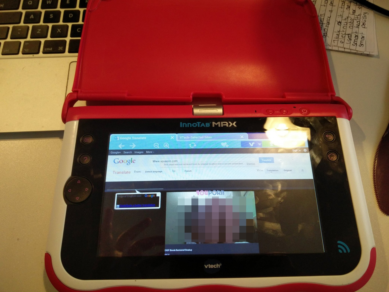 Pornographic content on VTech tablet