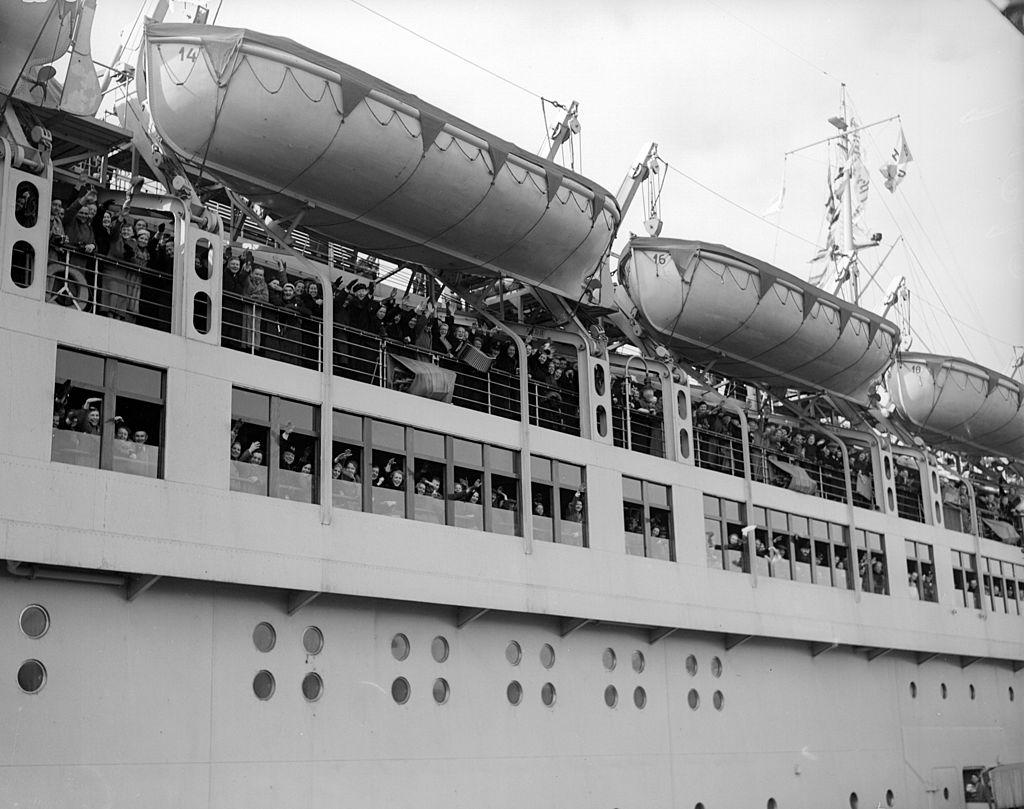 Passengers on board the Wilhelm Gustloff giving the Nazi salute shortly before leaving Tilbury Docks.