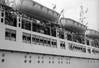 Passengers on board the Wilhelm Gustloff giving the Nazi salute shortly before leaving Tilbury Docks.
