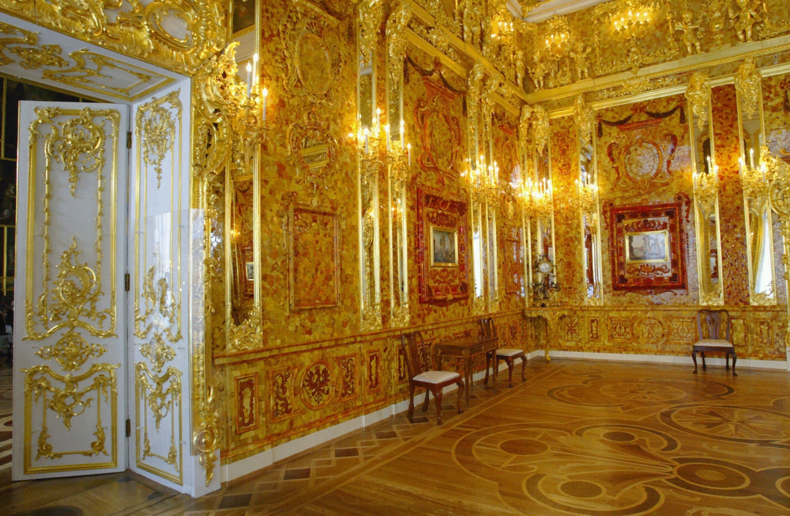 The restored Amber Room in the St