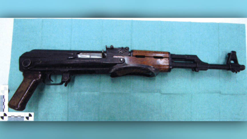 A loaded Kalashnikov assault rifle was foundinthe