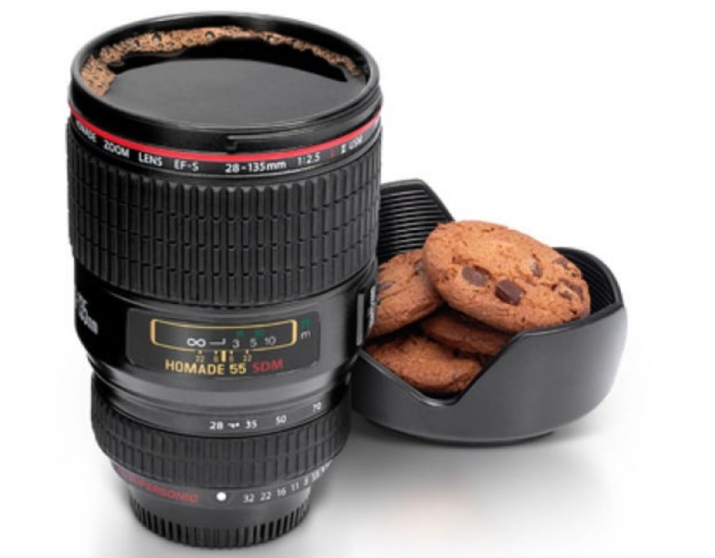 Camera lens coffee flask
