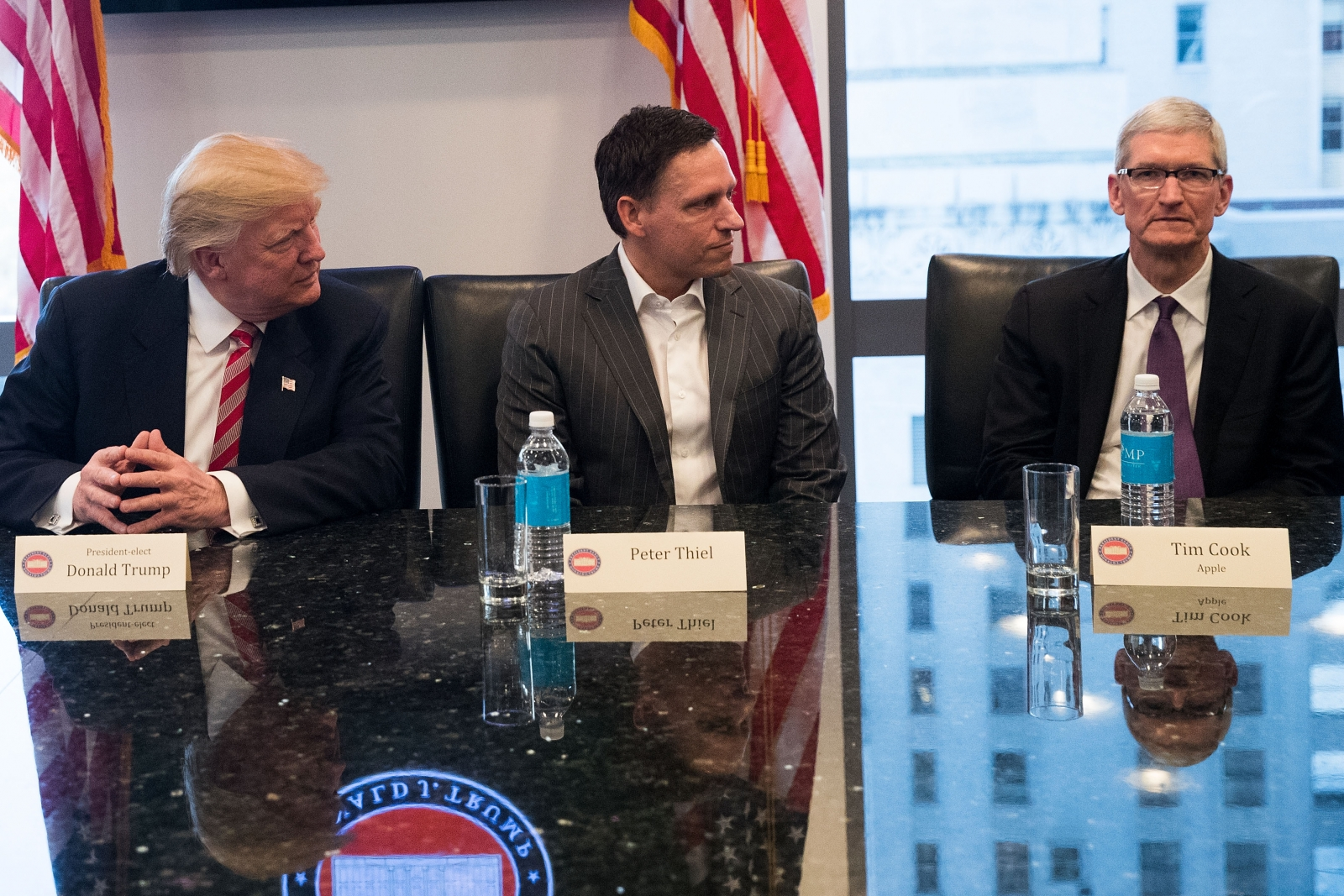 Trump, Thiel and Cook at tech meeting