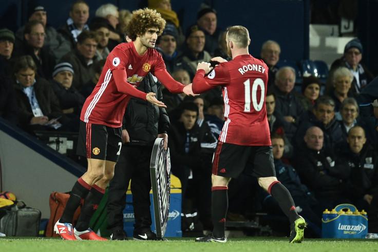 Marouane Fellaini and Wayne Rooney