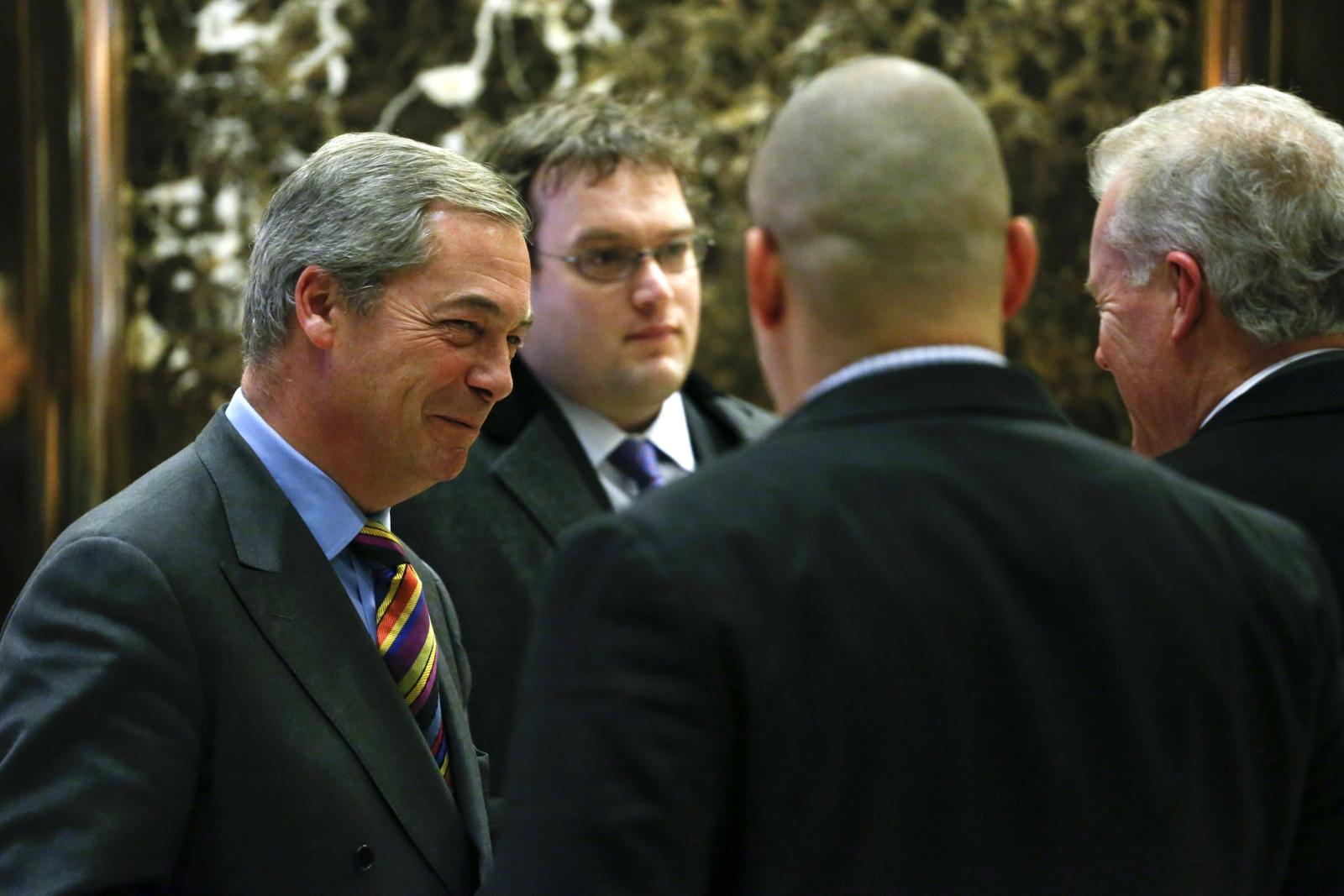 Nigel Farage leaves Trump Tower