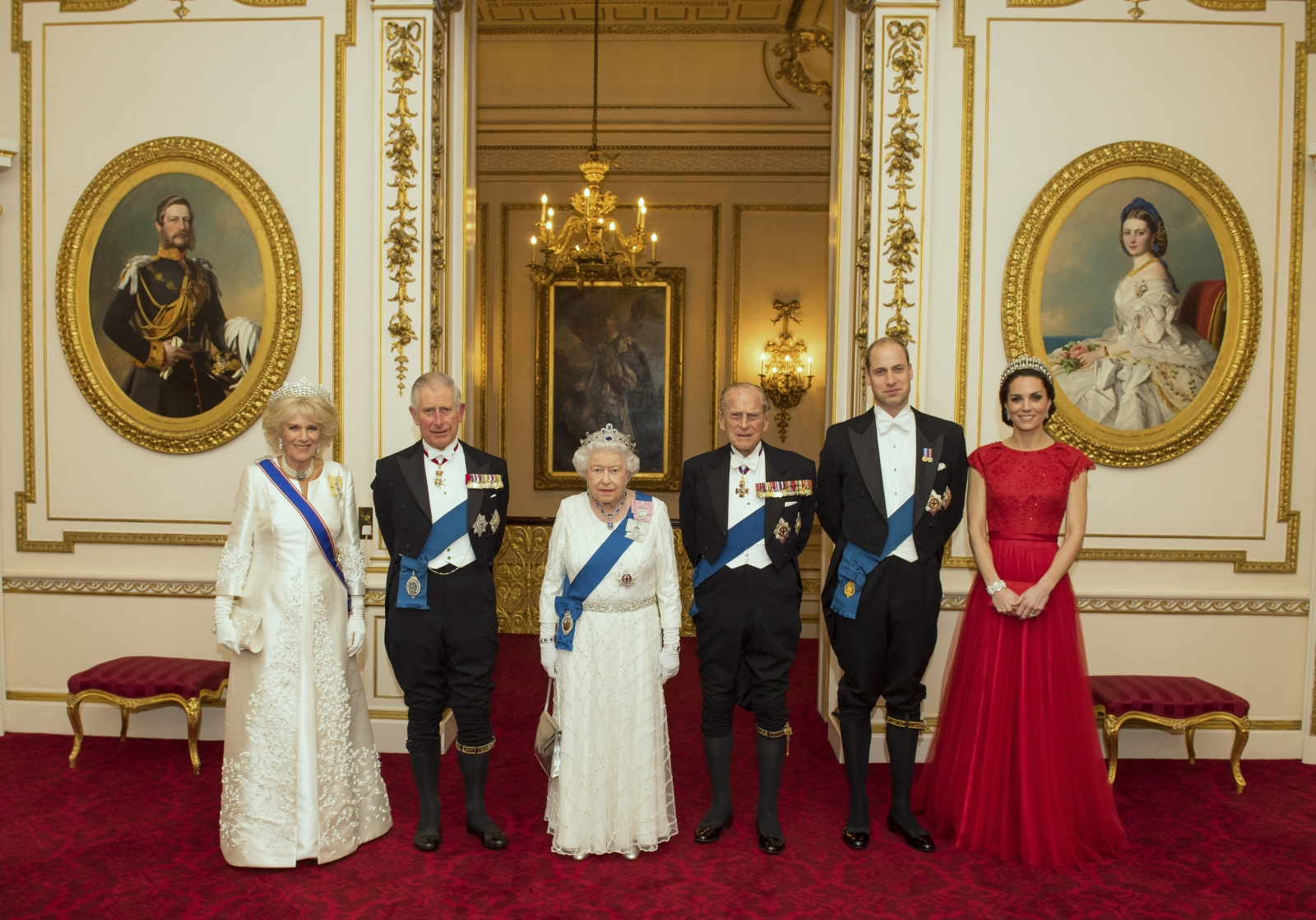 The royal family pose before evening reception