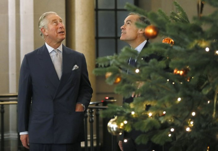 Charles and Mark Carney with Christmas tree