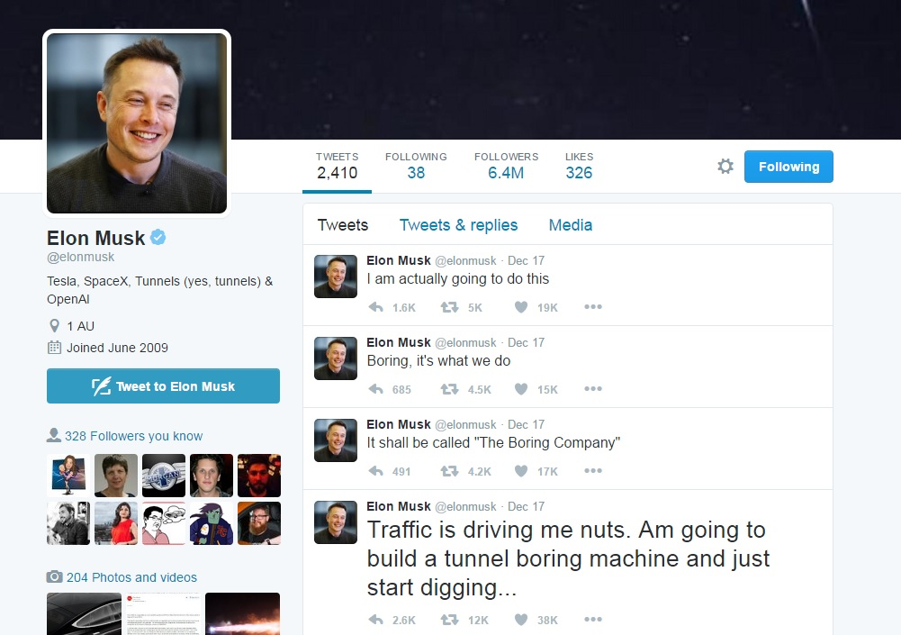 Elon Musk boring tweets