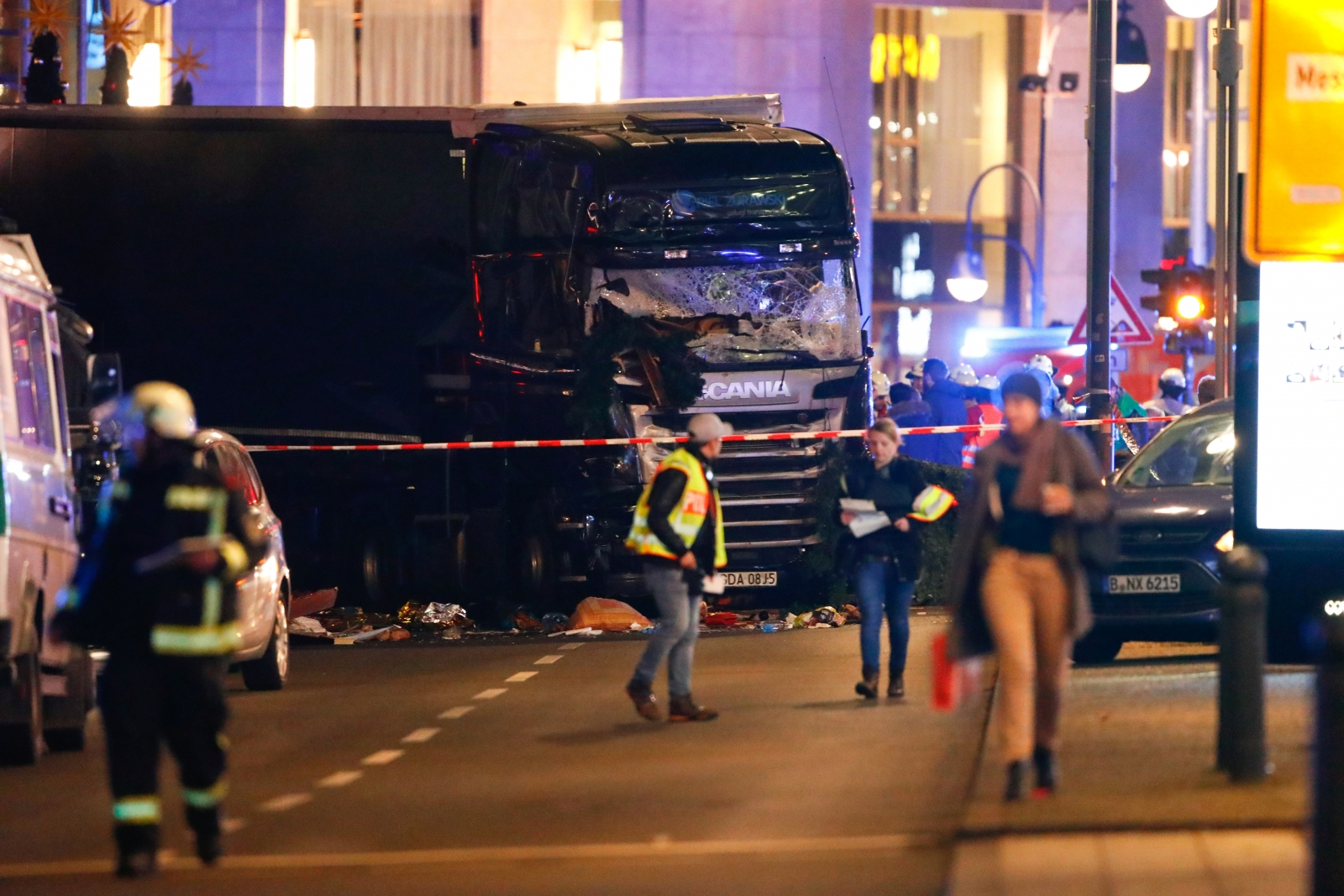 Police work at the site of an accident at a Christmas market on Breitscheidplatz square, Berlin