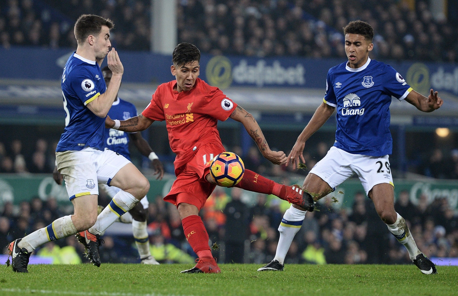 Roberto Firmino and Seamus Coleman