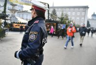 A police officer patrols the Christmas