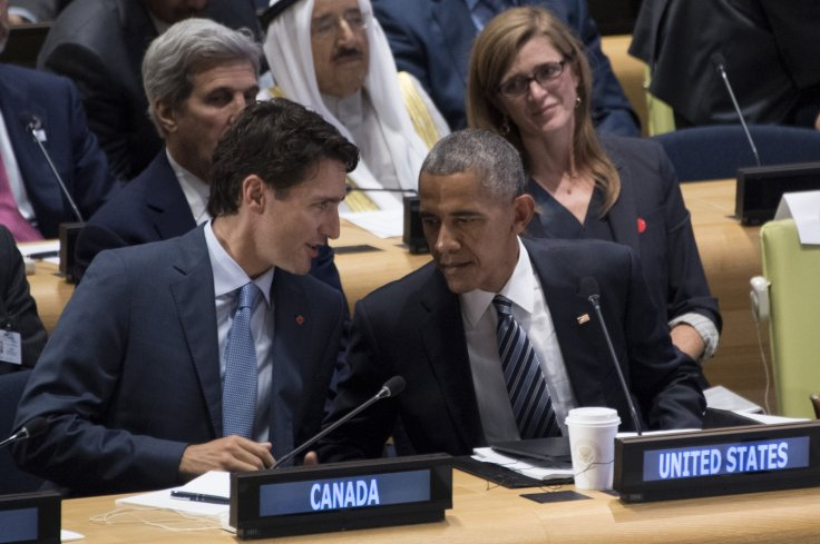 Trudeau and Obama speak during UN GA