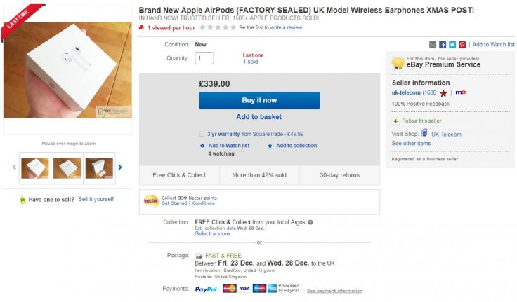 Apple AirPods on eBay