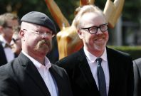 """MythBusters"" hosts Jamie Hyneman (L) and Adam Savage (R) arrive at the 2011 Primetime Creative Arts Emmy Awards in Los Angeles"
