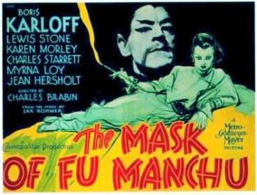 An early example of Yellowface, white actor Boris Karloff plays the 'evil' Dr Fu Manchu