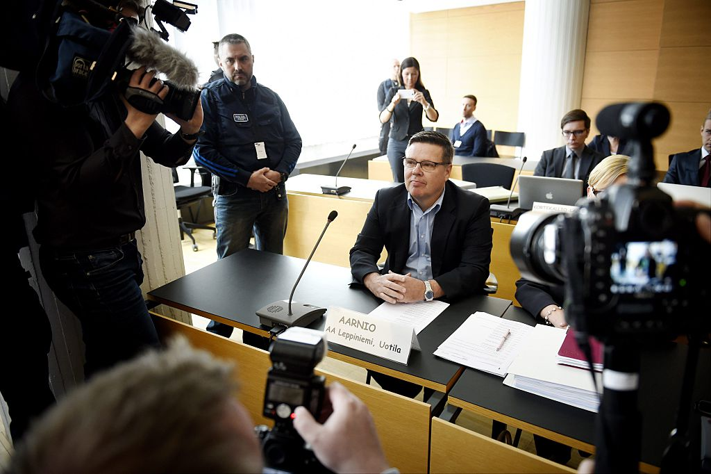 Former head of Helsinki's drug police Jari Aarnio attends trial at Helsinki district court on June 4, 2015.