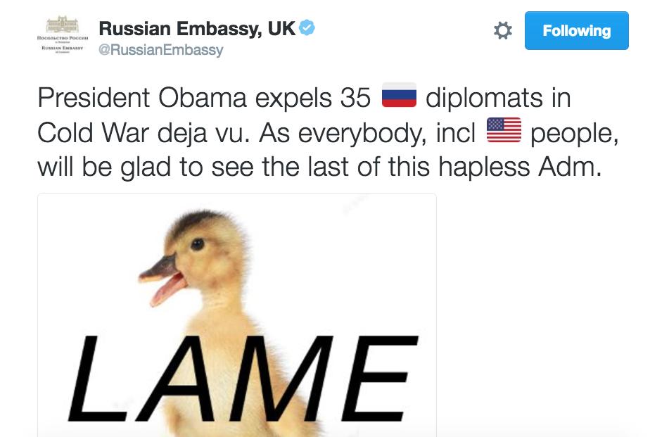 Russian Embassy tweet following Obama sanctions