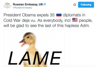 Russian Embassy tweet following Obama sanctions